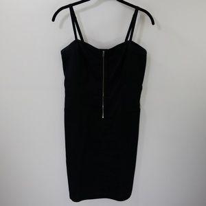 Theory Black Linen Blend Zipper Front Mini Dress 2